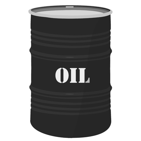 metal noir: Vector illustration of black metal oil barrel icon. Oil industries