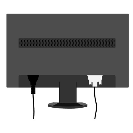 cords: Vector illustration black monitor LCD display back view. Monitor with connected cords.