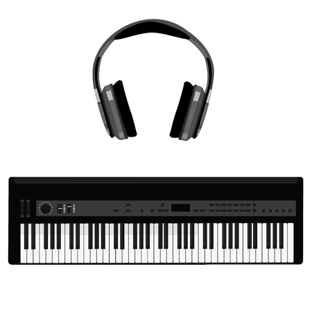 Vector illustration of musical instrument synthesizer and grey headphones. Piano keys