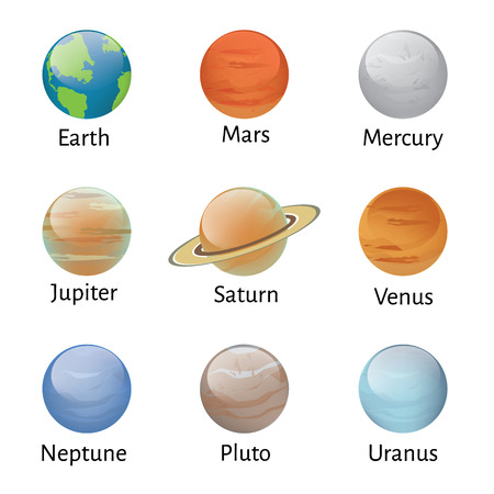 Vector illustration solar system planets icons on white background. Astronomy educational Illusztráció