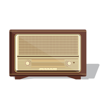 vintage radio: Old radio. Vector  illustration of an old radio receiver of the last century. Retro vintage antique radio Illustration