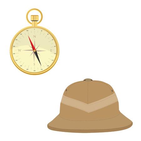 m�dula: Ilustraci�n vectorial de sombrero de safari y br�jula dorada. Concepto de Safari. Viajando iconos m�dula casco y br�jula