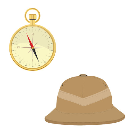 brim: Vector illustration of safari hat and golden compass. Safari concept. Traveling icons pith helmet and compass