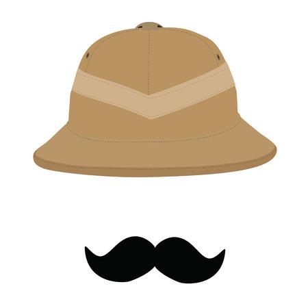 pith: Safari hat and black mustache, pith helmet, safari hat isolated, headware. Traveler concept or symbol