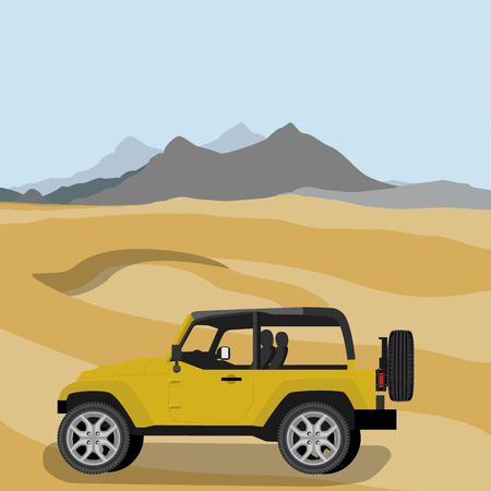 off road vehicle: Vector illustration yellow safari travel car in desert. car off road vehicle. Mountain landscape