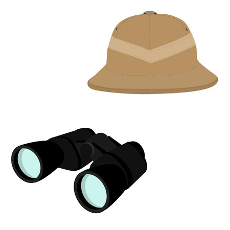 pith: Vector illustration of safari hat and black binoculars. Safari concept. Traveling icons pith helmet and binoculars