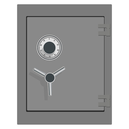 Vector illustration of closed bank safe. Money safe icon. Steel safe. Security concept with metal safe icon Stock Illustratie