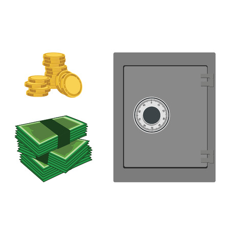 safe deposit box: Vector illustration of closed bank safe and coins, banknotes. Money safe icon. Steel safe. Security concept with metal safe icon