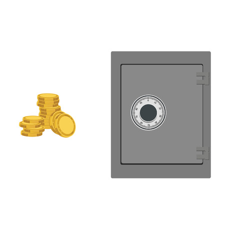 bank safe: Vector illustration of closed bank safe and coins. Money safe icon. Steel safe. Security concept with metal safe icon
