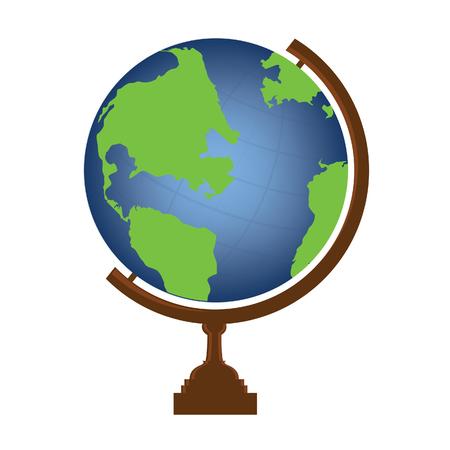 globe: Vector illustration of world globe. Globe icon. School globe. Earth globe.
