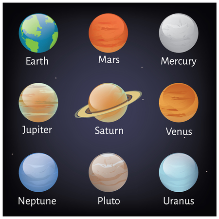 ciel sombre: Vector illustration solar system planets icons on dark sky background. Astronomy educational