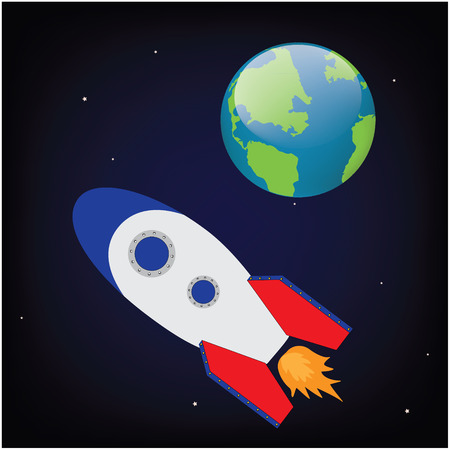 rocketship: Vector illustration space ship rocket in cosmos flying to earth planet. Rocket launch. Rocket toy Illustration