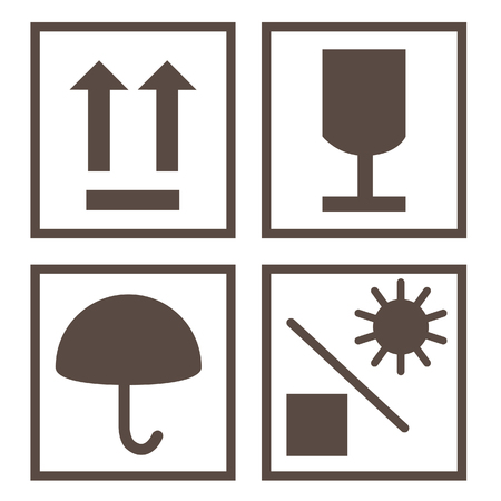 Shipping symbols keep dry, sign up, fragile and protect from sun vector. Package symbols