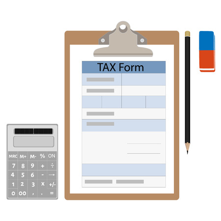 bank records: Vector illustration brown clipboard with income tax form, pencil, eraser and calculator. Federal income tax form. Tax return