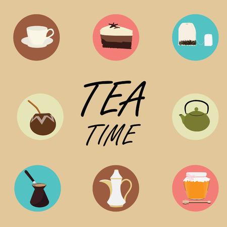 cup and saucer: Tea flat icons. Cup of tea honey calabash and bombilla teapot coffeepot cake tea bag. Tea time
