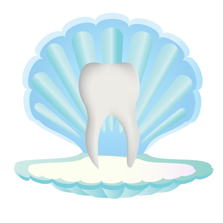 stomatology: Tooth protection, defence. Tooth inside sea shell. Tooth pearls. Stomatology concept, logo or design Illustration