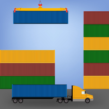 container port: Sea port, unloading of cargo containers. Sea freight transportation vector illustration. Container truck