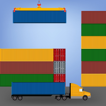 port: Sea port, unloading of cargo containers. Sea freight transportation vector illustration. Container truck
