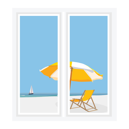 sea view: Vector illustration white window with view of beatiful seascape. Beach umbrella and chair, luxury yacht in the sea.