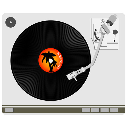 hits: Vinyl player with summer hits vinyl record vector, record player, old, disco, gramophone