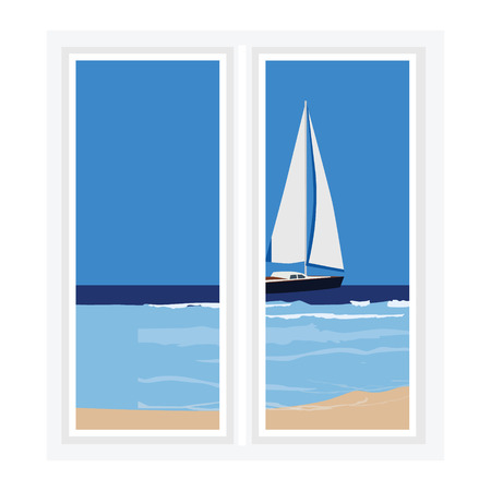 sill: Vector illustration white window with view of beatiful seascape. Luxury yacht in the sea