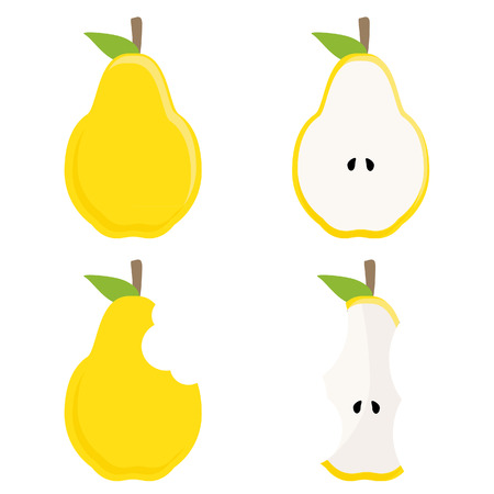 pera: pera amarilla entera, media pera, pera y tocón vector conjunto de pera mordida, comida sana, fruta fresca. icono de vector con la pera amarilla Vectores