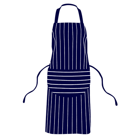 apron: Blue, striped kitchen apron vector isolated, chef apron