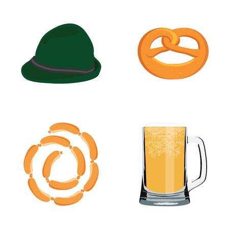 german sausage: Oktoberfest beer festival flat icon set or design elements - pretzel, beer mug, sausage chain and green german hat