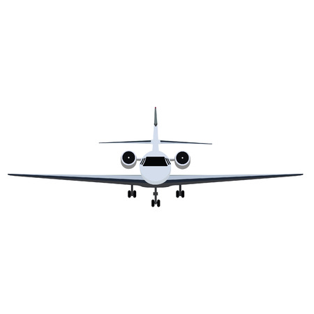 private jet: Vector illustration private business jet flying in the sky. Commercial flight and airlines Illustration