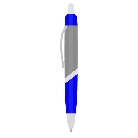 ball pens stationery: Vector illustration blue ball pen. Stationery for school or office. Vectores