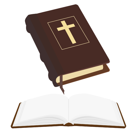 gold cross: Brown old holy bible with gold cross vector icon isolated, religious bookstore, closed and opened book