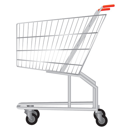 carretilla de mano: Ilustración vectorial de la vista lateral del supermercado carro de compras vacío