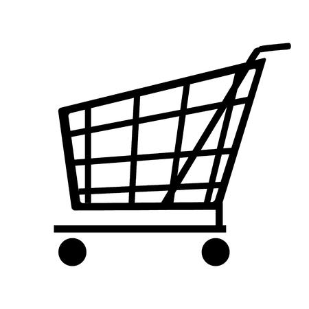 supermarket shopping cart: Vector Carro icono. Vista lateral supermercado carro de compras vac�o Vectores