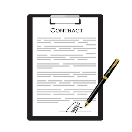 contrato de trabajo: Contrato del asunto con la firma en el sujetapapeles negro con la pluma de oro ilustración vectorial. Icono de contracción Vectores