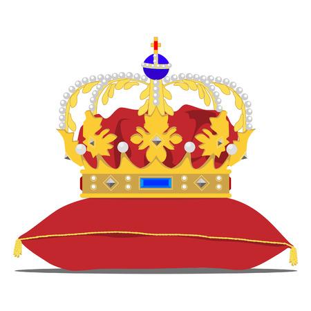 queen bed: Vector illustration golden crown on the red pillow. Royal crown on velvet pillow Illustration