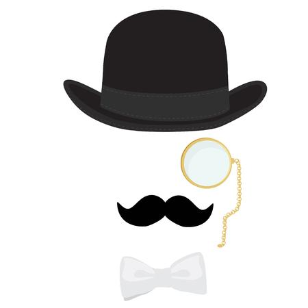 mo�o blanco: Retro icono, caballero de la vendimia. Hombre estirado alcance en hongo negro, mon�culo de oro, blanco pajarita y con bigote negro