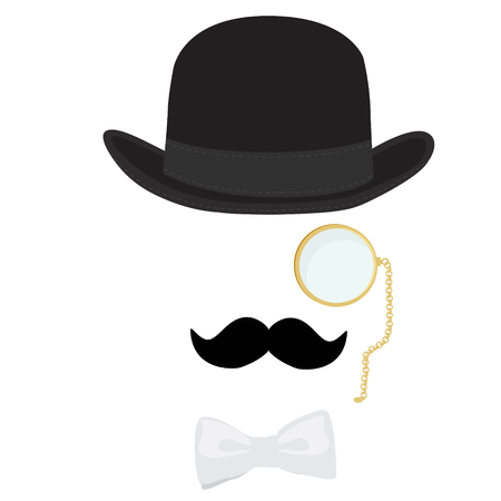 englishman: Retro, vintage gentleman icon. Snobby reach man in black bowler hat, golden monocle, white bow tie and with black mustache