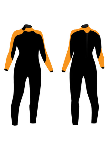 sport woman: Black and orange diving suit  vector isolated, diving equipment, diving sport, front and back