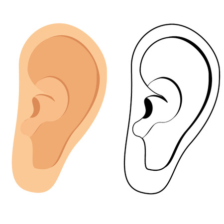 ear: Vector illustration of human ear. Ear icon, symbol. Deaf, ear hearing