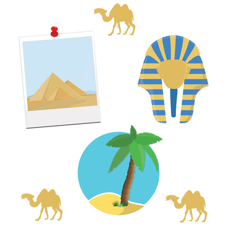 giza: Egypt flat icons design travel concept. Collection of ancient Egypt icons - egypt mask, pyramid giza, camel and palm tree