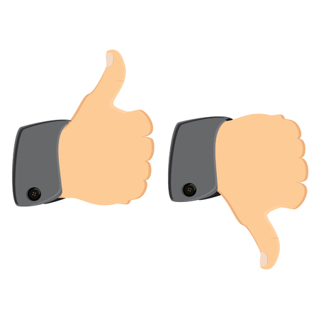 THUMBS DOWN: Vector illustration thumb up thumb down. Like and dislike symbol concept