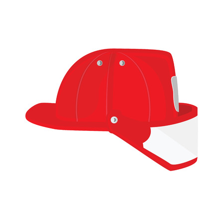 Fireman: Vector illustration firefighter helmet with protective glass. Red fireman hat icon