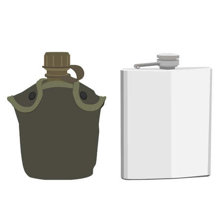 cantine: Army water canteen with case  and aluminum flask icons. Vector illustration of military canteen or flask. Jar of water use in the campaign.