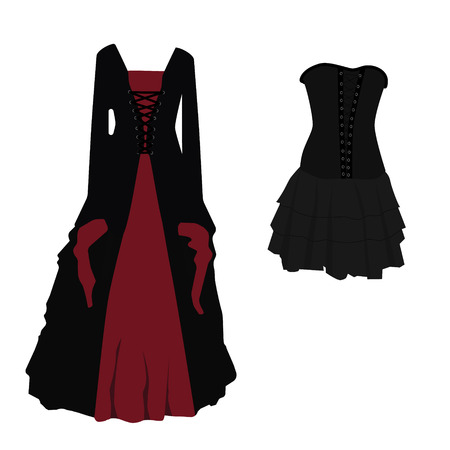 Halloween costume black and red gothic dress for witch vector illustration. Long and short woman dress with corset