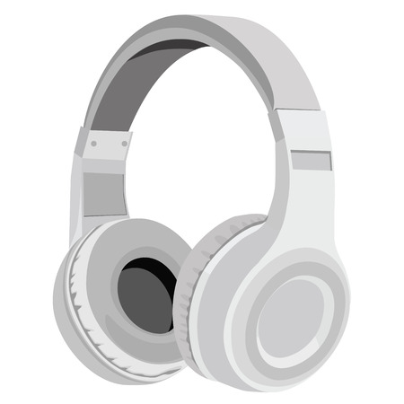 Vector illustration realistic grey headphones icon. Stereo headphones  イラスト・ベクター素材
