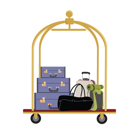 hotel icon: Vector illustration of hotel luggage cart with luggage, briefcase, backpack and bag. Luggage trolley