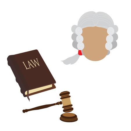 barrister: Law icon set with judge character in old wig, gavel and law book. Law and judgment legal justice icon flat collection