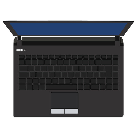 laptop isolated: Vector illustration of black laptop top view. Computer,  laptop isolated, laptop icon,  laptop screen