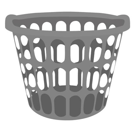 Vector illustratie grijze plastic wasmand. Mand voor kleding