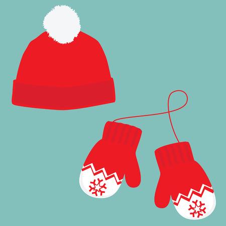 Vector illustratie paar gebreide kerst wanten en rode muts met pompom op een blauwe achtergrond. Kerst wenskaart met wanten en muts Stock Illustratie
